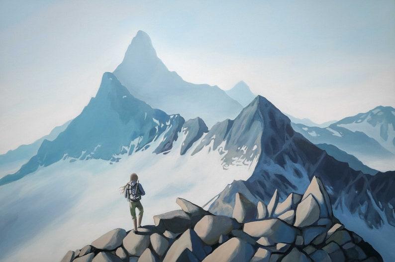 Woman climber high on mountain ridge along the Sir Donald image 0