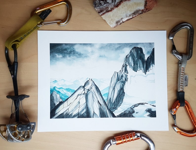 Climbers high on a ridge in the Bugaboos in the Purcell image 0