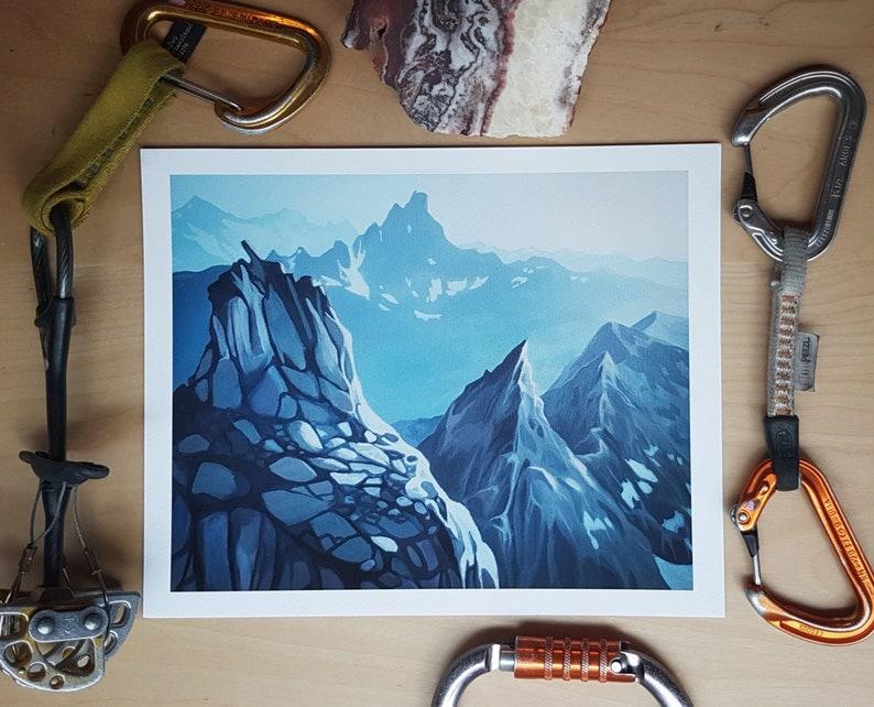 High BC mountain ridge line climbing art  Giclée Print image 0