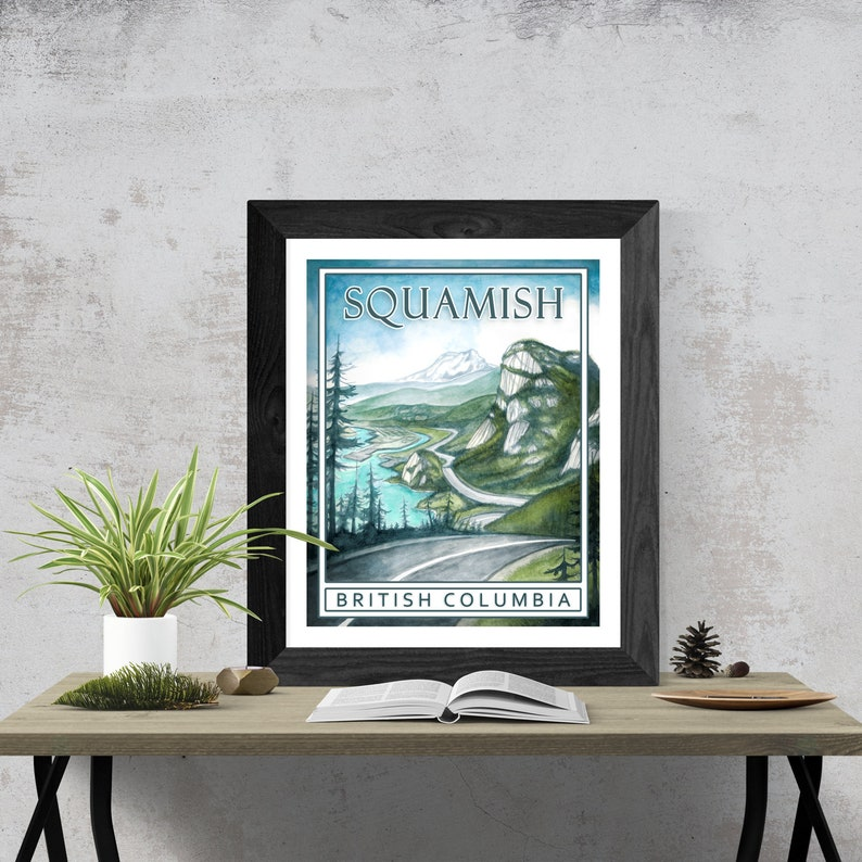 Sea to sky highway vintage poster of Squamish BC  giclée image 0