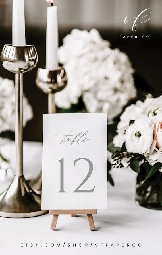 Table Number Template Printable Wedding Table Number Sign Template Wedding Table Numbers Templett Editable Pdf DIY Instant Download