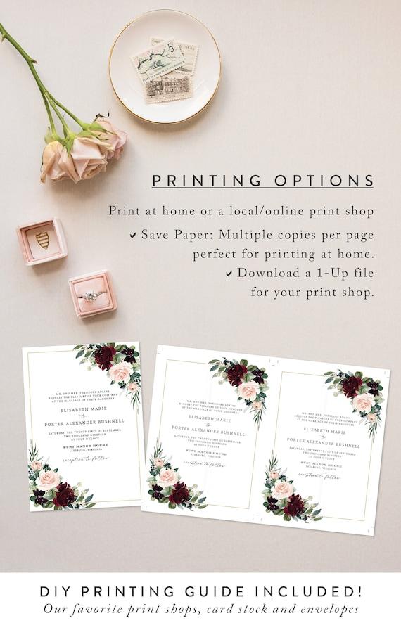 Wedding Details Card Template Printable Information Card DIY Instant Download Digital Editable PDF Fall Burgundy Blush Flowers Ava Templett