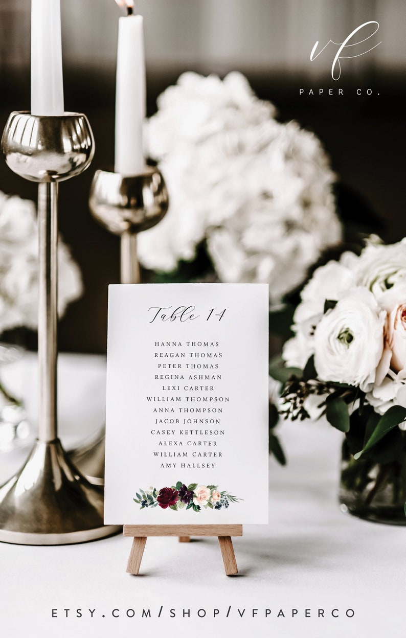 Printable Wedding Seating Cards Template For Wedding Table Etsy
