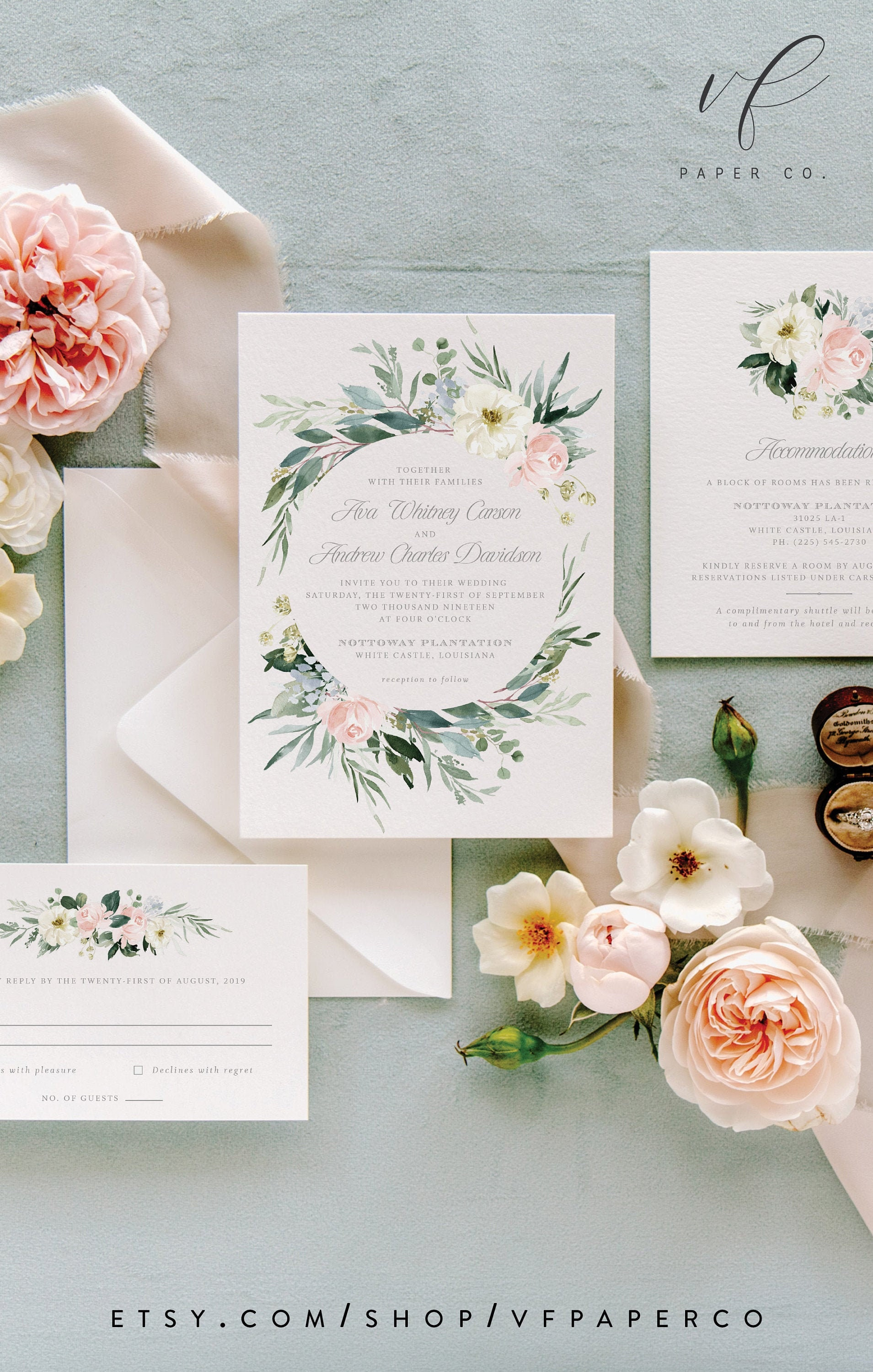 Floral Wedding Invitation Suite Template in Blush Pink and | Etsy