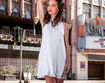 Silk Sleeveless Shift Dress, White Snake, Mini