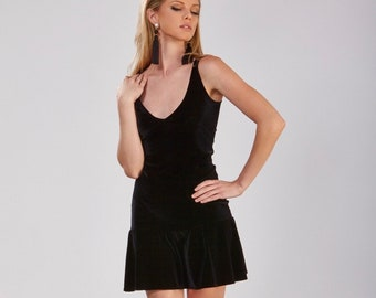 Velvet Drop Waist Dress, Black, V-Neck, Gathered Mini Skirt