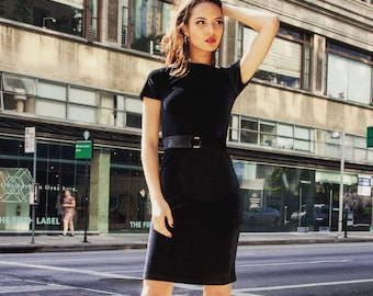 Velvet Short Sleeve Dress, Black, Elegant Office Look, Knee Length