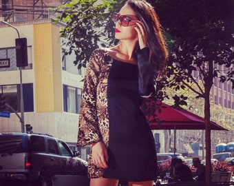 Silk Trumpet Long Sleeve Dress, Black Leopard, Retro and Mini