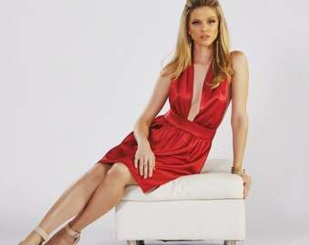 Silk Halter Cocktail Dress, Red or White, Sexy, Marilyn Inspired