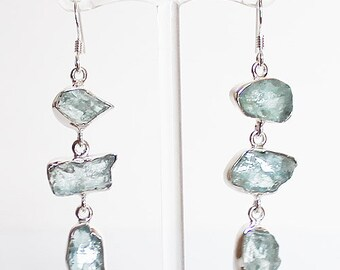 fa636a32b18 925 Solid Sterling Silver Raw Rough Cut Semi Precious Natural Blue  Aquamarine Stone Drop Earrings