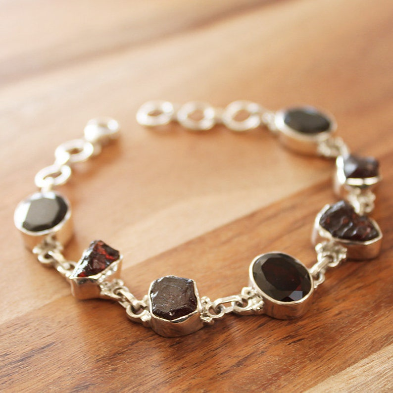 925 Solid Sterling Silver Faceted and Raw Rough Cut Semi Precious Natural Dark Red Garnet Stone Bracelet