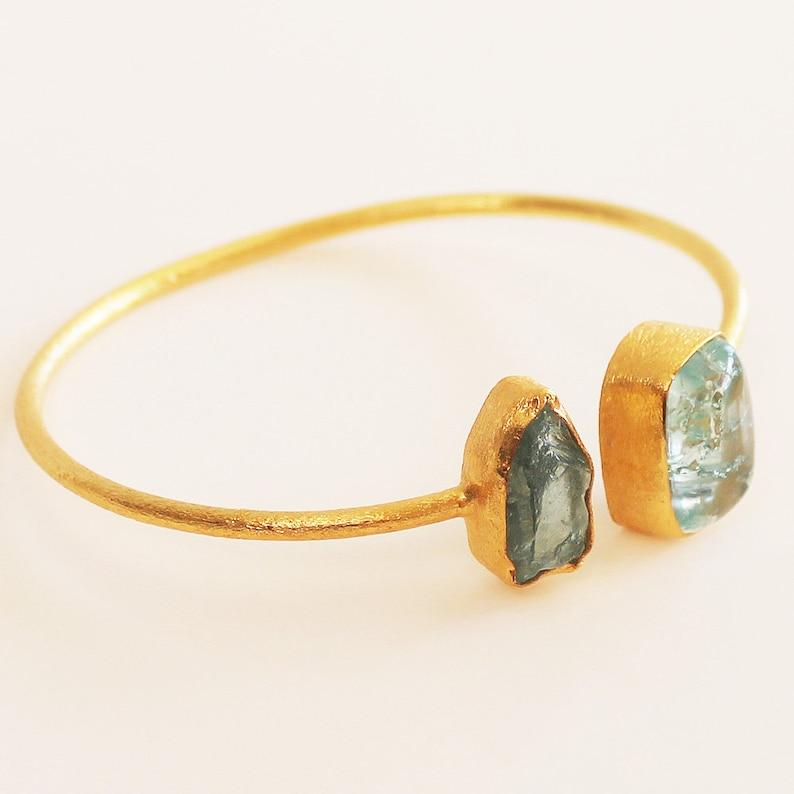 24ct Gold Plated Semi Precious Stone Rough Aquamarine and Snakeskin Jasper Bracelet