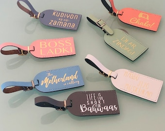 Luggage Tags, Boss Ladki Slogans, Desi Gifts, Leather Luggage Tags
