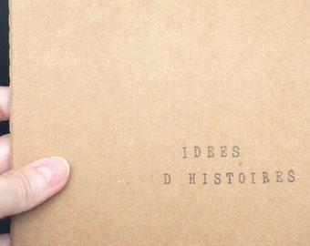 """Carnet de notes carré (14*14) avec couverture kraft - Cadeau pour auteurs et passionnés d'écriture - """"Idées d'histoires"""""""