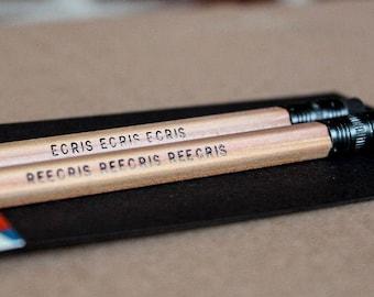 Crayons de papier en bois gravés - Cadeau pour écrivain