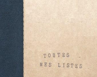 """Carnet en kraft """"Toutes mes listes"""" - Carnet original - Bloc-notes"""