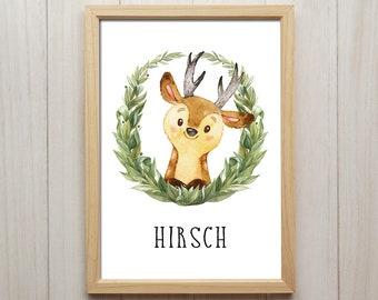 Hirsch Bild Kinderzimmer Tiere Kunstdruck Kranz Portrait Kinder Spielzimmer  Dekoration Baby Waldtiere Poster Babyzimmer Wandbild Geschenk