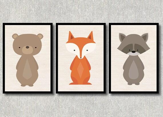 Modernes Wald Tiere Bild Set Bar Fuchs Waschbar Kinderzimmer Etsy