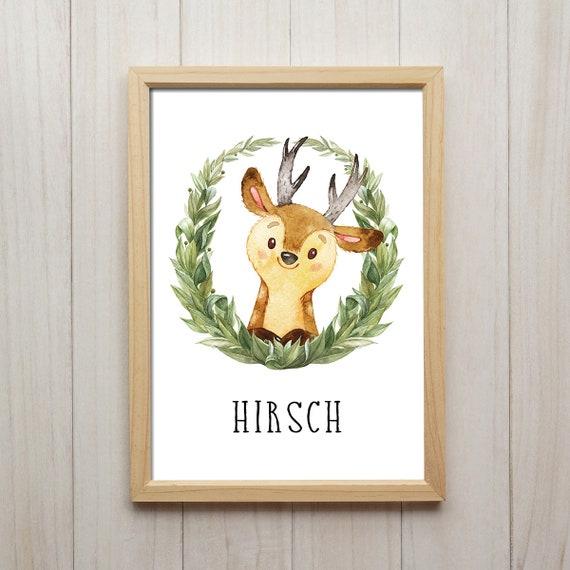 Hirsch Bild Kinderzimmer Tiere Kunstdruck Kranz Portrait Etsy