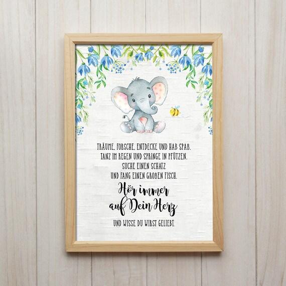 Hör Auf Dein Herz Elefant Spruch Kunstdruck
