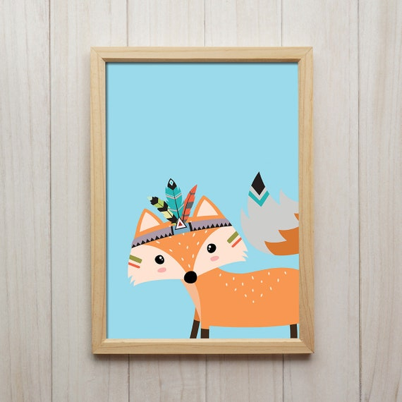 Tribal Fuchs Bild Kinderzimmer Deko Tiere Kunstdruck Etsy