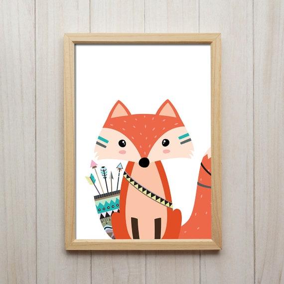 Kinderzimmer Deko Tribal Fuchs Bilder Set Füchse Poster Pfeile   Etsy