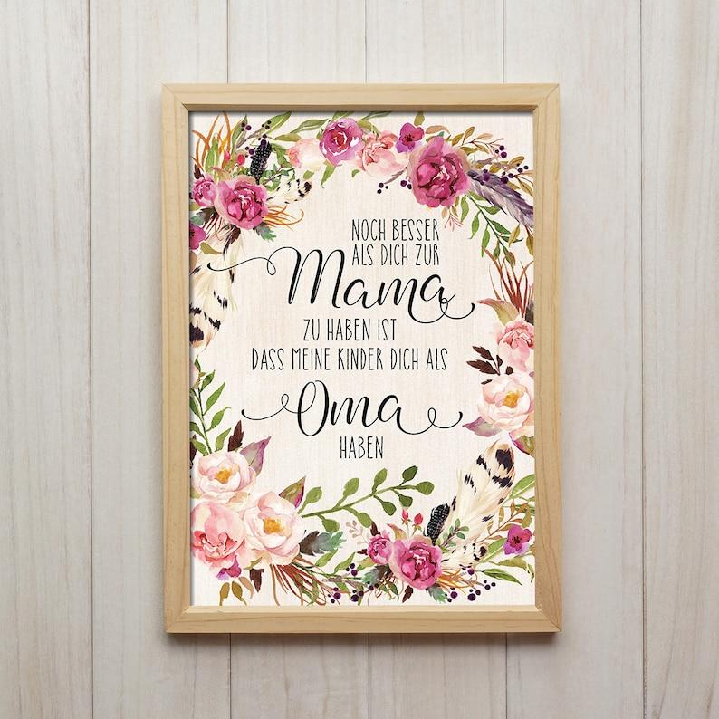 Dich Als Oma Haben Spruch Bild Blumen Kranz Poster Boho Dekor Etsy