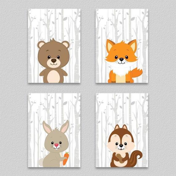 Waldtiere Bilder Set Kinderzimmer Bar Kunstdruck Fuchs Poster Etsy