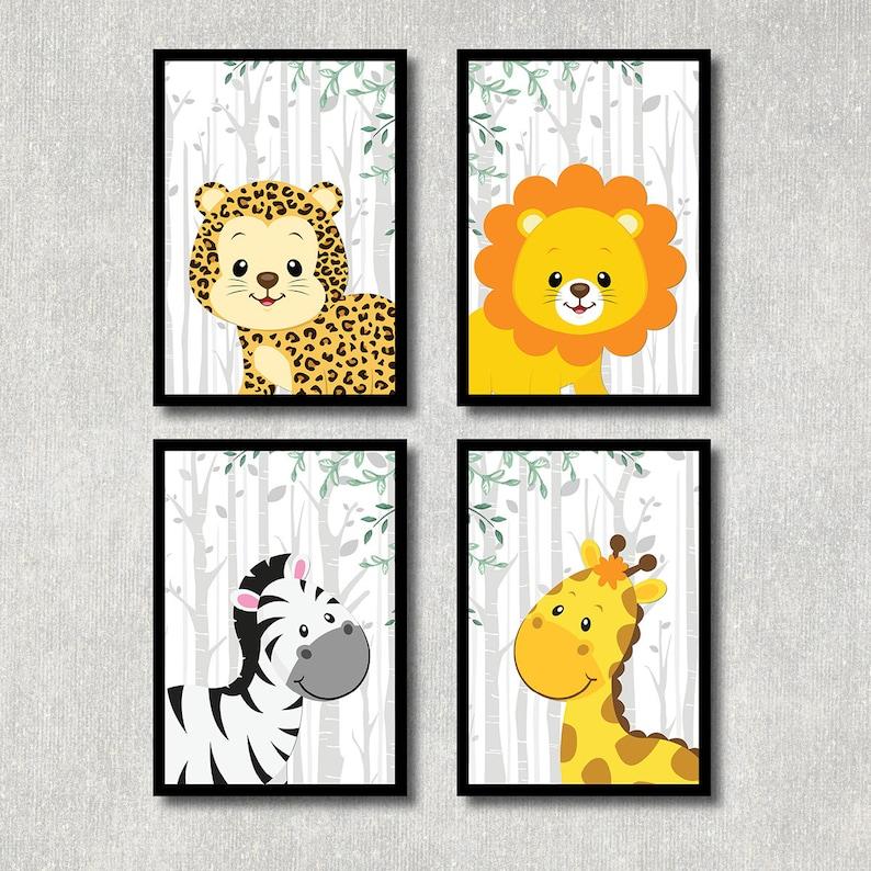 Dschungel Tiere Kinderzimmer Bild Set Leopard Poster Löwe | Etsy