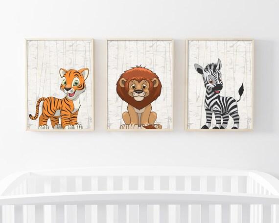 Wild Tiere Set Kunstdruck A4 Tiger Hase Fuchs Kinderzimmer Deko Bilder