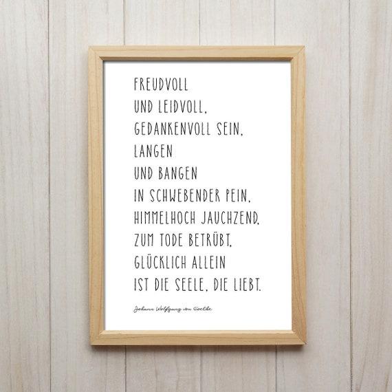 Goethe Zitat Bild Schrift Schwarz Weiß Kunstdruck Liebe Gedicht Beziehung Geschenk Literatur Redewendung Spruch Poster Wandgestaltung