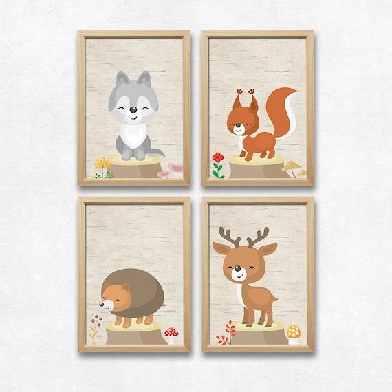 Waldtiere Bilder Set Kinderzimmer Wolf Kunstdruck Eichhörnchen | Etsy