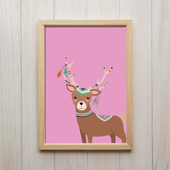 Tribal Hirsch Bild Kinderzimmer Deko Tiere Kunstdruck Etsy