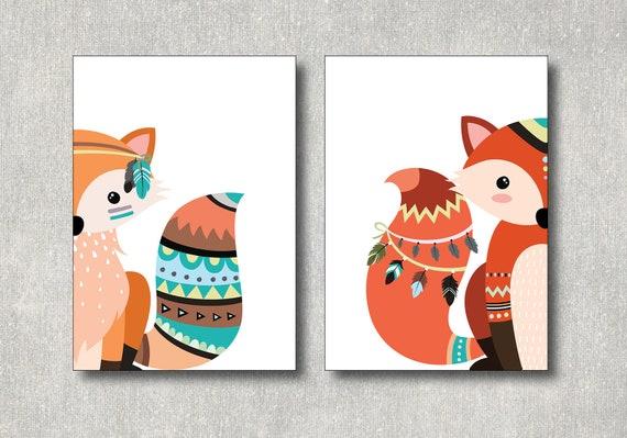 Tribal Fuchs Bild Set Kinderzimmer Dekoration Fuchse Etsy