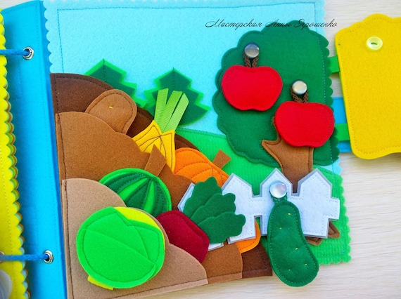 First birthday gift FARM,Garden,Rainbow,Quiet Book,Montessory toy,Learn to count,Small felt book,Tactile Book,Developmental toys