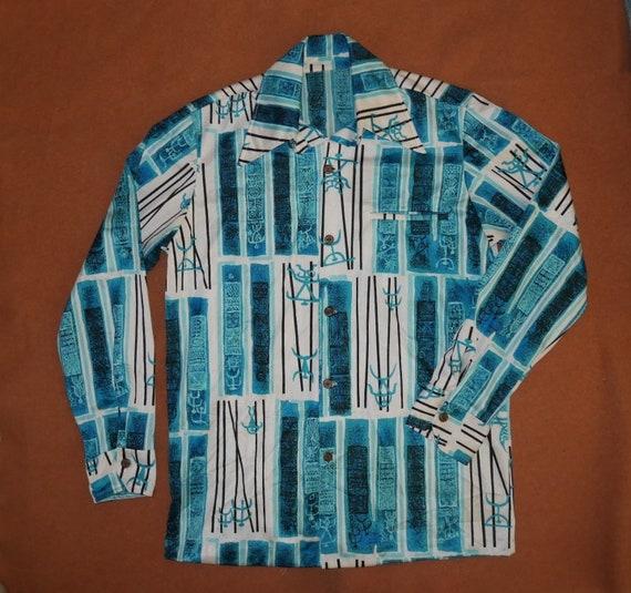 Vintage 1960s Hawaiian Shirt Long Sleeve Silky Ray