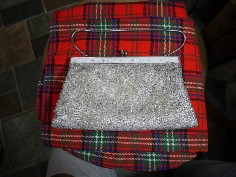 Vintage 1950s Glass Beads Beaded Handbag Purse Clutch Made in Hong Kong