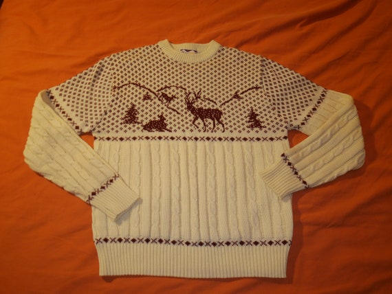 Vintage Christmas Sweater Acrylic Ski Sweater
