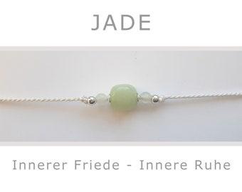 Bracelet - Jade - with 925-Silver - Yoga - Talisman - Lucky Charm - Inner Peace, Inner Peace
