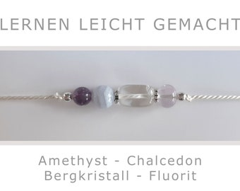 Bracelet - Made Learning Easy - Amethyst Chalcedony Rock Crystal Fluorite and 925 Silver - Lucky Charm Talisman Energy Jewelry School Child
