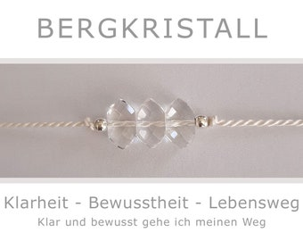 Bracelet - Rock Crystal - with 925-Silver - Clarity Awareness Life Path Goals - Yoga Talisman Lucky Charm Reiki Energy Jewelry Kraft Way