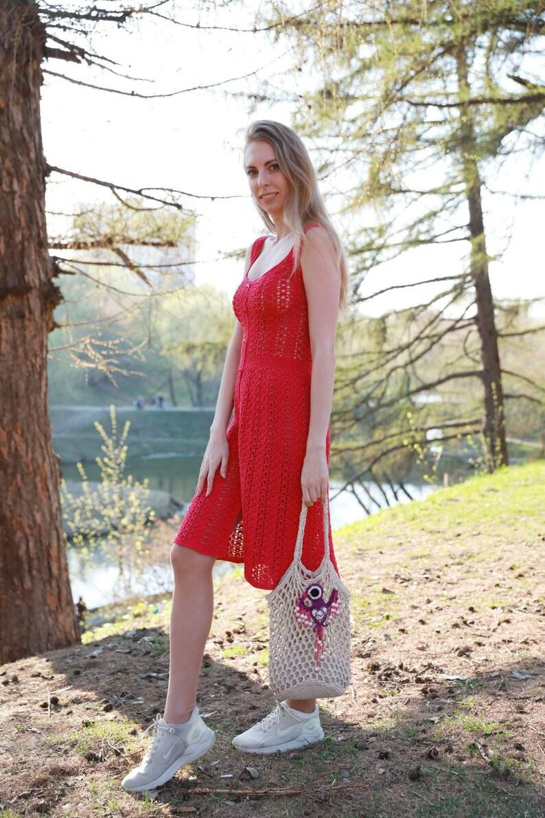 Handmade Crocheted crimson dress Lace pink dress