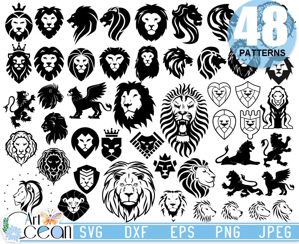Artocean Black Lion 48 Patterns Svg Clip Art Digital Clip Art Etsy