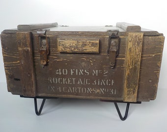 ammo box furniture etsy rh etsy com Antique Wooden Ammo Boxes Metal Ammo Box Projects