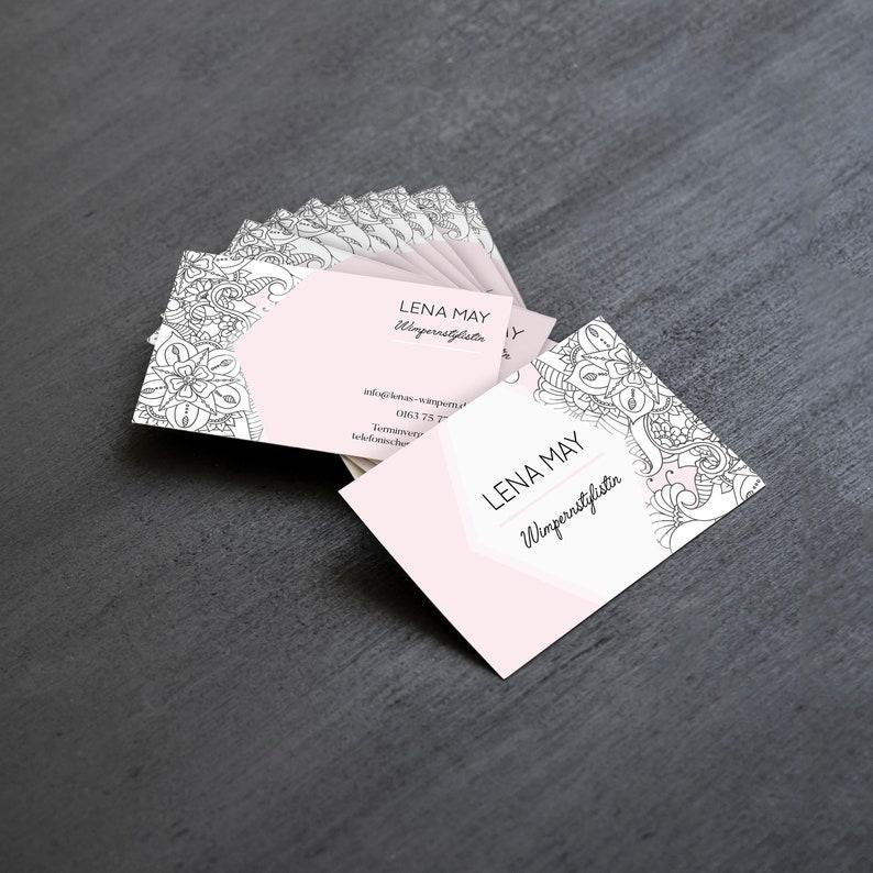 Individuelle Visitenkarten Im Querformat 500 Stück Florales Design Blumen Boho Rosa Blumen