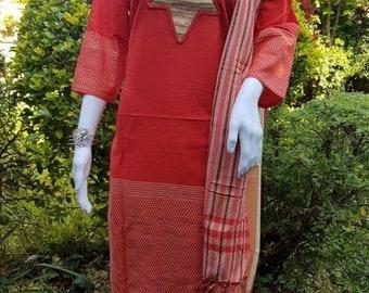 XXLarge Deep Red Monipuri Salwar Kameez