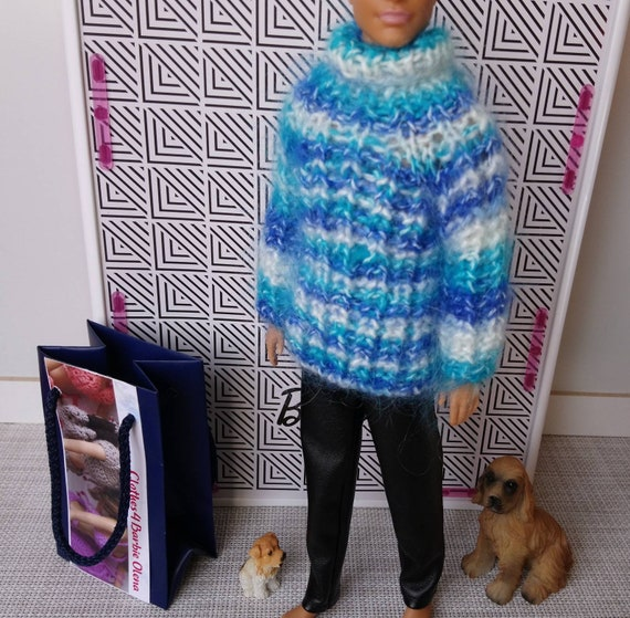 Clothes4BarbieOlena Hand-knitted purple dress with cable stitch for Barbie My Scene Poppy FR etc 16th scale 12 similar body size dolls