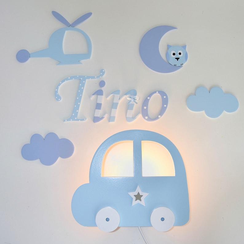 Lampe murale en forme de voiture pour petit garçon - Créatrice ETSY : PinkyKikyDesign