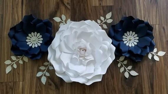 Navy Large Paper Flower Boho Backdrop And Decor