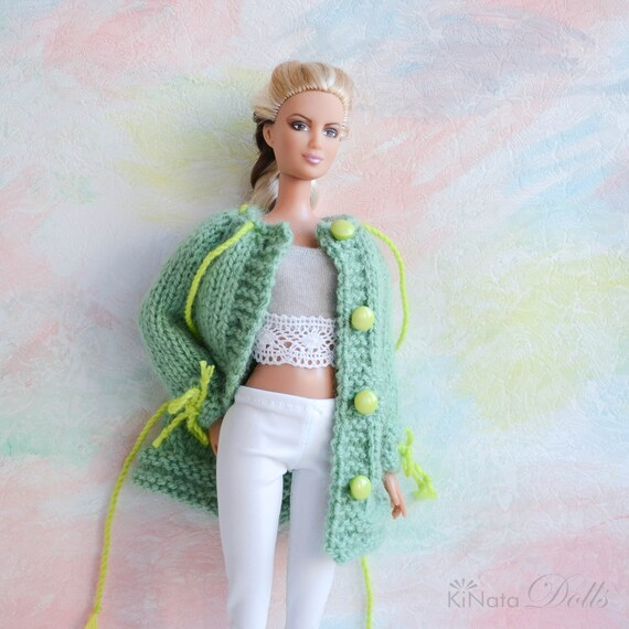 knitted sweater Momoko Tall Barbie Barbie Cable cardigan MADE TO ORDER hand knit jacket